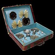 Antique French dolls service set in original suitcase box