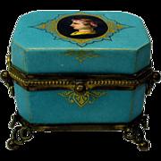 Unusual Grand Tour porcelain casket box with portrait