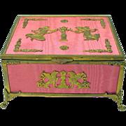 Palais Royal pink silk & gilt ormolu dresser box