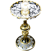 Large gilded engraved glass candlestick centerpiece