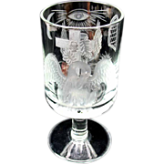 Early engraved glass goblet with Masonic or mystic symbols