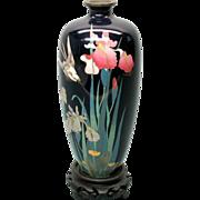 Vintage Japanese cloisonne vase Iris with Bird