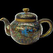 Masterful antique Japanese cloisonne miniature teapot