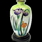 Signed Japanese miniature foil cloisonne vase with iris