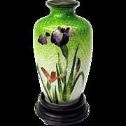 """Antique Japanese toy miniature foil cloisonne vase 3"""" purple Iris"""