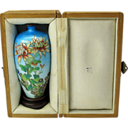 Signed Japanese silver foil cloisonne vase in original box