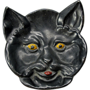 Barstow Stove Co. enameled cast iron Black cat dish tray