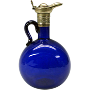 Vintage cobalt blue glass silvered top Claret jug