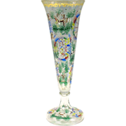 Big engraved and enameled 19th c glass trumpet vase