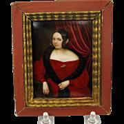 Fine early painted porcelain portrait plaque 1800's