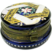 Cobalt enamel decorated Moser glass patch box