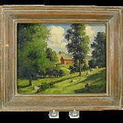 Bertram Bruestle oil painting Old Lyme farm CT listed artist