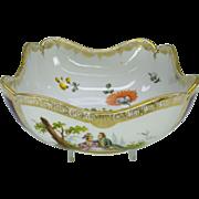 Antique hand painted Dresden porcelain center bowl purple vignettes