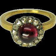 SALE PENDING Delicate Georgian Ladies ring cabochon garnet & diamonds