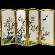 Miniature Ando Inaba Japanese cloisonne folding screen