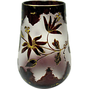 French ruby carved to clear gilded cameo glass vase 1900's