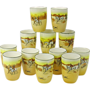 Rare set 12 Royal Doulton Hunt scene lemonade tumblers punch cups