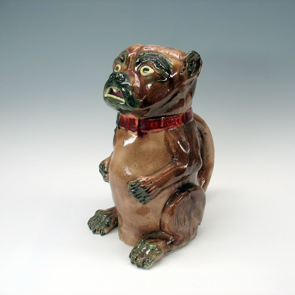 Large Antique Majolica Begging Dog Pitcher From