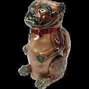 Large antique Majolica begging dog pitcher