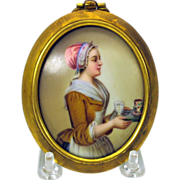 Fine hand painted porcelain plaque Walter Baker Cocoa lady advertising