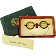 Victorian Doll or Teddy miniature spectacles original box & 1872 Autograph Album