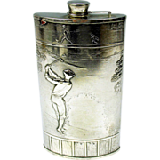 SOLD Antique Evans silver plated Golfing flask with enamel 19th hole flag 1900's