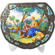 Vintage Italian 800 silver & enamel scenic ladies powder compact
