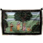 Antique Indian hand painted silk Temple wall hanging-God dancing to flute being played by women