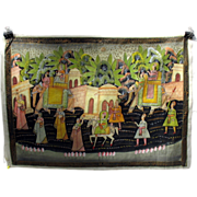 Antique Indian hand painted silk Temple wall hanging Elephant parade procession through a town #2