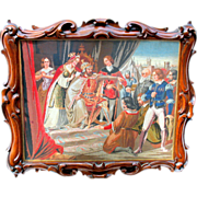 "Best 19th Century or earlier tapestry in stunning solid carved walnut frame 24"" by 20"""