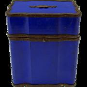 Large Grand Tour Palais Royale blue lacquer & cut steel dresser box casket