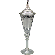 """19th Century antique 16"""" engraved glass lidded pokal"""