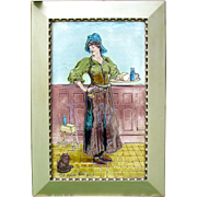 """20"""" tall 1899 Burmantoft's faience signed picture tile The maide at the Inne with cat"""