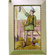 """20"""" tall 1899 Burmantoft's Faience picture tile The Stayble man Rat catcher with dog"""