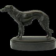 Superb Art Deco Austrian bronze Borzoi Russian Wolfhound dog statue by listed artist