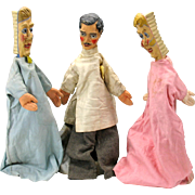 Rare 1900's set 3 DENTIST paper mache headed puppets 2 toothbrush + Dentist 21""