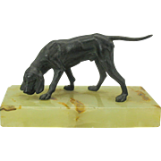 Well detailed 1900's Victorian Dog bronze on base