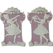 Pair 1900's Schafer and Vater jasper bisque vases in lavender/white with Ladies