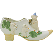 Victorian German bisque shoe with figural PIGS in clover
