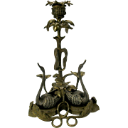 19th Century figural bronze & silvered candlestick table centerpiece