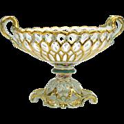 Lavish Paris porcelain reticulated basket centerpiece pedestal bowl with acorns