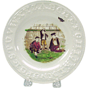 Victorian alphabet plate with boys playing MARBLES