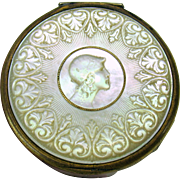 1900's carved mother or pearl pill or patch box