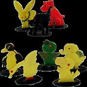 Set 8 Art Deco Japanese celluloid ANIMAL place card holders Dog Cat Penguin etc