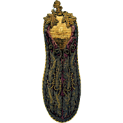 18th Century metallic embroidered scissor holder in slipper form