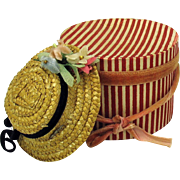Antique Fashion doll miniature straw hat bonnet with hatbox