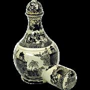 Rare 1800's black transfer ware porcelain bird feeder Ex Museum collection