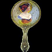 Art Nouveau porcelain portrait hand mirror-Woman with Poppy head dress