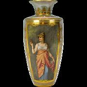 "Stunning Dresden hand painted portrait vase Royal Vienna decorated ""Pandora"""