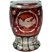 Unusual antique engraved ruby flash SPA glass with Dog & crown motif